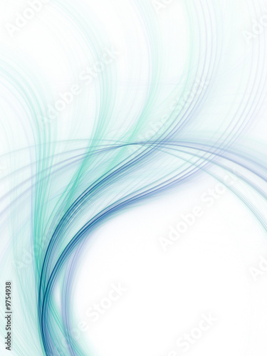 Papiers peints Fractal waves Abstract fractal background. Blue and green waves.