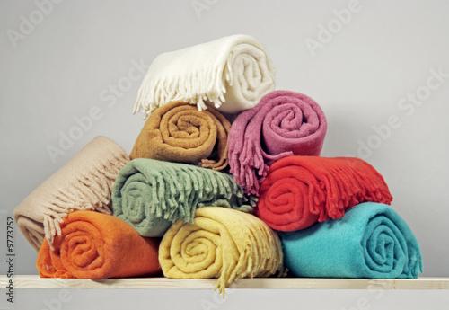 Obraz Heap of rolled up blankets - fototapety do salonu