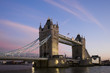 canvas print picture - The London Tower Bridge taken after sunset