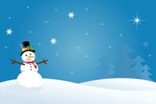 Snowman Christmas / Winter Scene