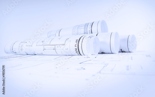 Fotografie, Obraz  Rolls of blueprints for house construction
