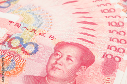 Fotografie, Obraz  Closeup of china one hundred yuan bills