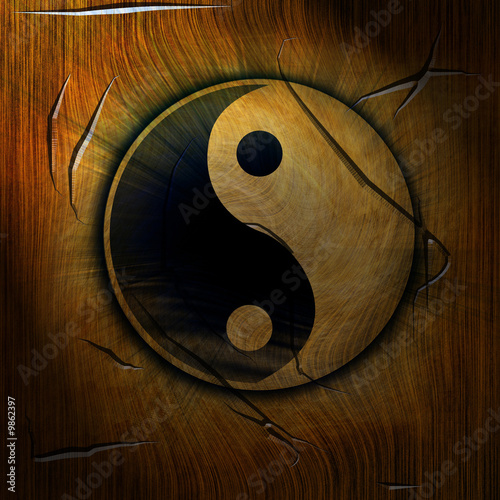 yin yang symbol on a wooden background Fototapet