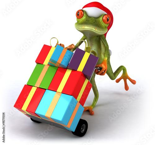 Grenouille avec cadeaux de Noël Canvas Print
