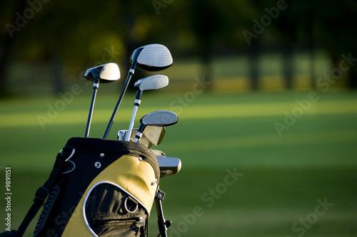Deurstickers Golf A set up new golf clubs on a beautiful golf course