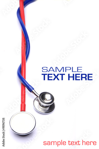 Fotografie, Obraz  red and blue stethoscope isolated in white background