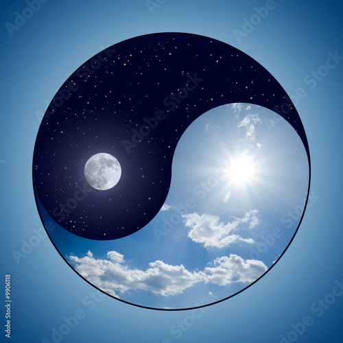 Fotografering  Modified Yin & Yang symbol - sunny day versus moon at night
