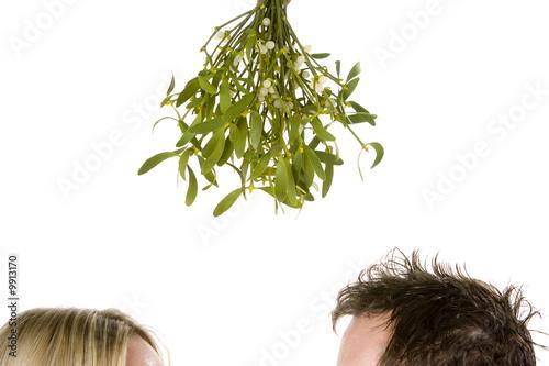 Fotografie, Obraz  Detail of couple standing beneath bunch of mistletoe