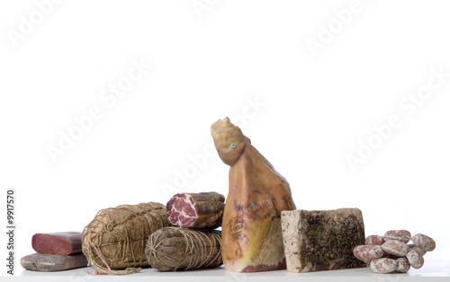 Fotografie, Obraz  Group sausage on a white background.
