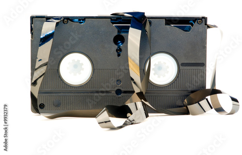 A old broken VHS tape isolated on white background Fototapet