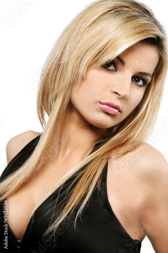 Fotografie, Obraz  Young beautiful blond Caucasian girl on white background.