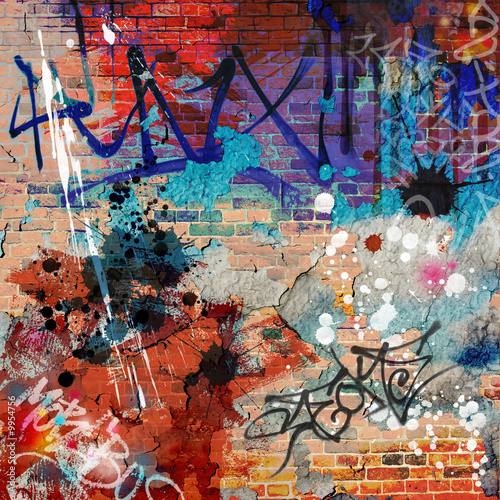 Acrylic Prints Graffiti A Messy Graffiti Wall Background