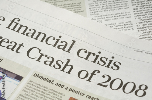 Fotomural  Newspaper headlines - finanical crisis on 2008