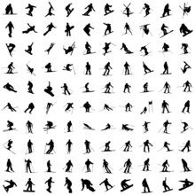 One Hundred Silhouette Of Skiers.