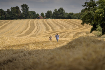 two boys playing in a summer field during harvesting