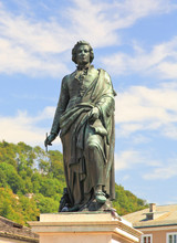 The Statue Of Mozart In The Mozart Square In Salzburg, Austria