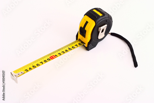 Yellow And Black Tape Measure On White Background Kaufen Sie