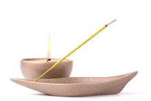 Candle And Incense Stick Isola...