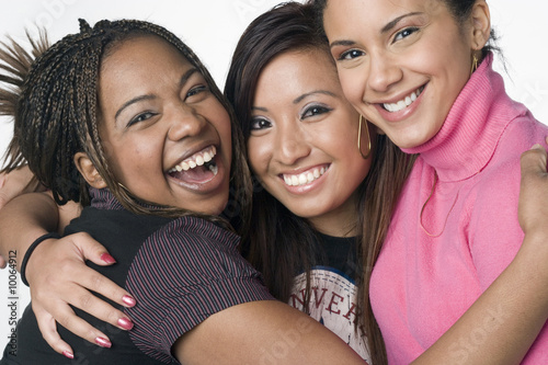 Photo Asian, Latino, African American teen girl portrait