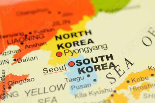 Fototapeta premium Zamknij się w Seulu, w Korei Południowej na mapie