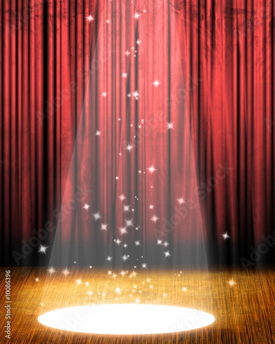 Photo  Movie or theater curtain with a bright spotlight