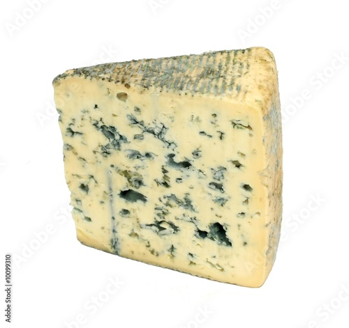 Photo  Slice of french musty cheese - Bleu d'auvergne variety