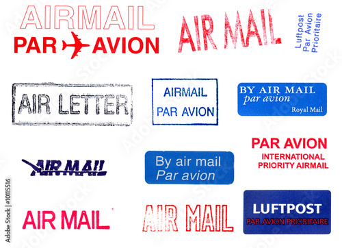 Canvas Print Postage meters on airmail letter