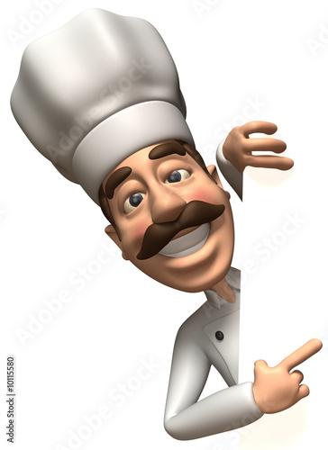 Fotografía  Chef avec un panneau blanc