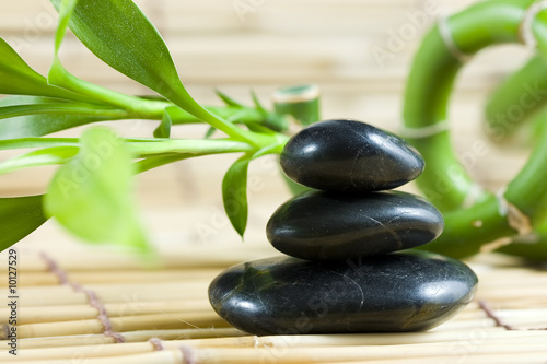 Recess Fitting Zen 3 balanced pebbles stones with bamboo