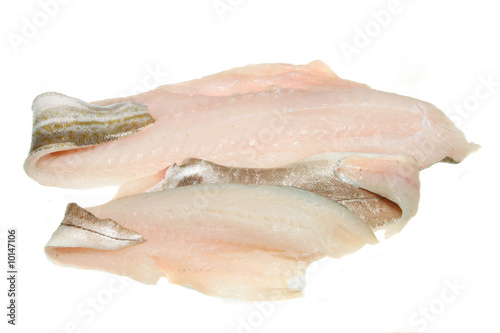 Cod and haddock fish fillets isolated on white Canvas-taulu