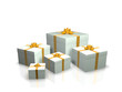 White gift boxes with golden ribbons