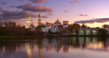 Novodevichy Convent In The Evening Panorama.