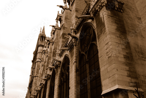 Notre Dame Cathedral Retro Style In Sepia Color Paris