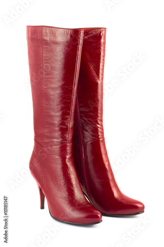 Fototapeta Red woman boots isolated on white background obraz
