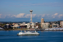 Seattle Waterfront Skyline And Space Needle
