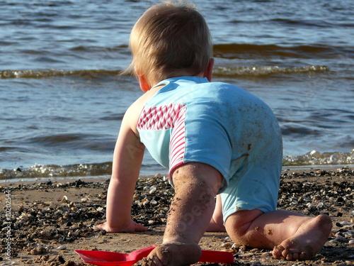 Fotografie, Tablou  Baby am Strand