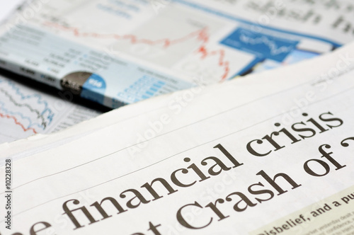 Photo  Newspaper headlines - financial crisis on 2008