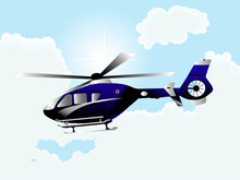 Helicopter Against The Blue Sky