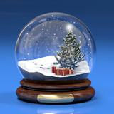 Boccia di vetro con abete e regali - 10270516
