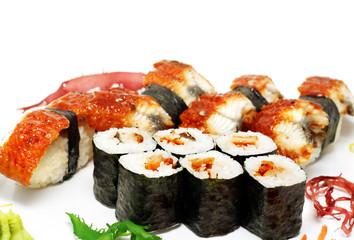 Panel SzklanyEel Nigiri Sushi and Eel Maki Sushi