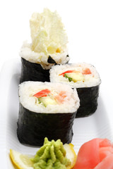 Fototapeta Vegetarian Sushi Isolated on White Background