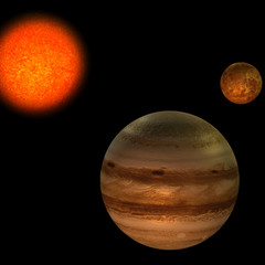 image of the solar system. focus on: Jupiter and Venus.With Clip