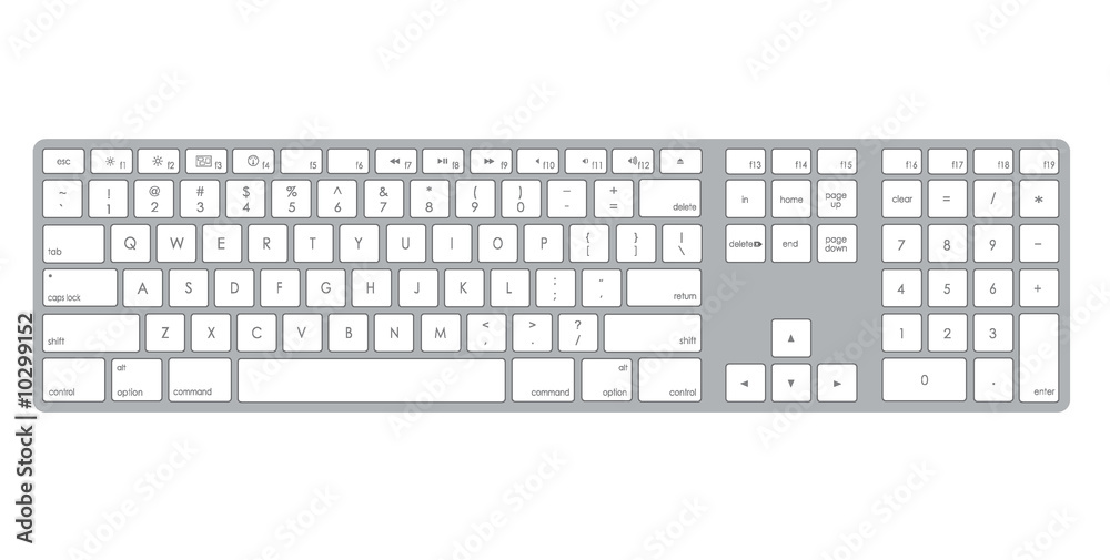 Fototapeta A stylish metalic computer keyboard illustration