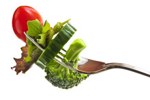Fresh Vegetables On A Fork Iso...