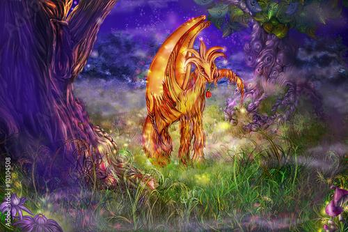 Foto-Plissee - An enigmatic kind fairy-tale creature is at night (von Natalia Rashevskaya)