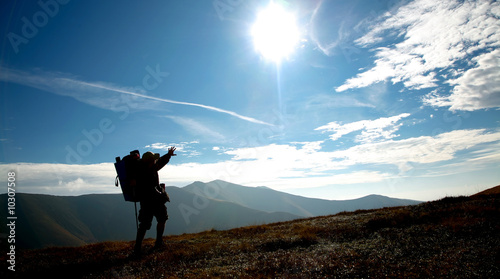 An image of silhouette of man on a hill Canvas Print