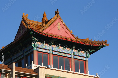 A roof top landmark showing Montreal's Chinatown