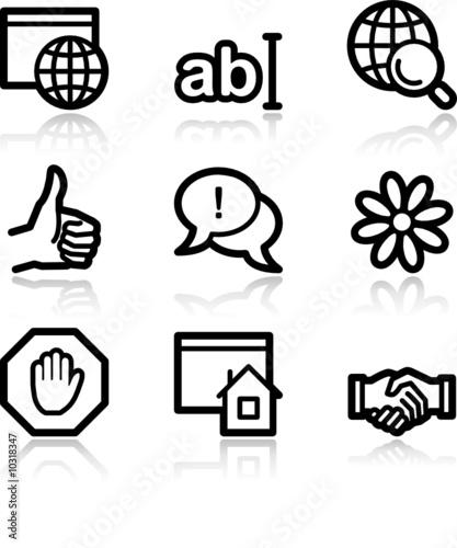 Fototapeta Internet communication black contour web icons V2 obraz na płótnie