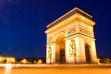 Fototapeta na wymiar The Arch of Triumph at night. Paris