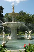 Historic Forsyth Park Fountain In Savannah, Georgia
